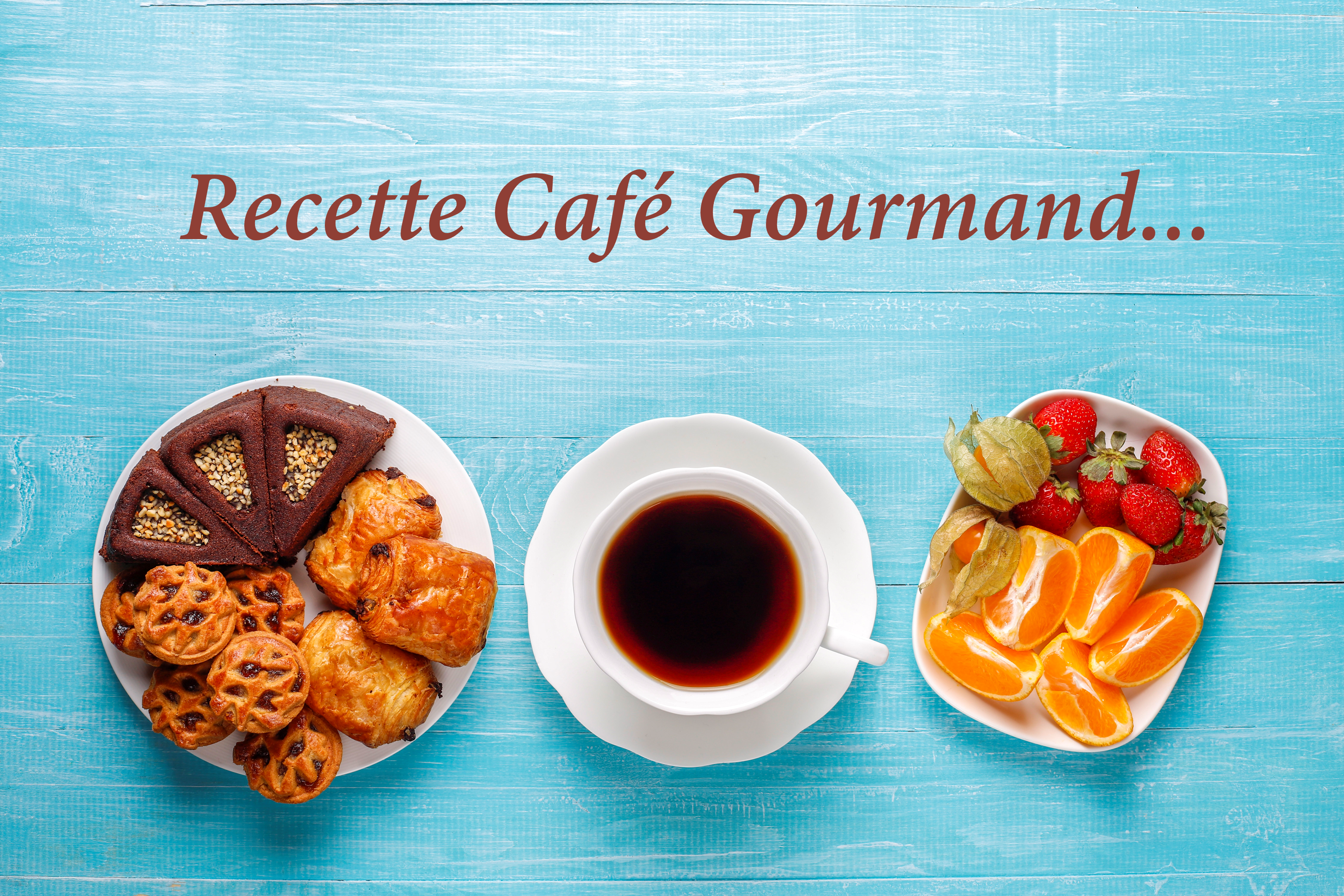 Café gourmand : espresso + financier + rocher + brochette de fruits
